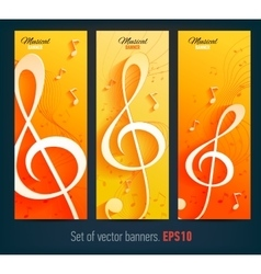Set of banners with with music notes and key vector image