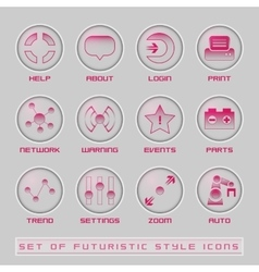 Set of futuristic user interface icons vector