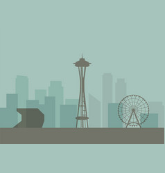 silhouette of seattle skyline vector image