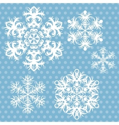 snowflakes set on blue retro background vector image