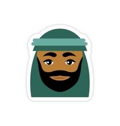 stylish paper sticker on white background Arab men vector image vector image