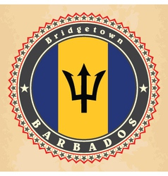 Vintage label cards of barbados flag vector