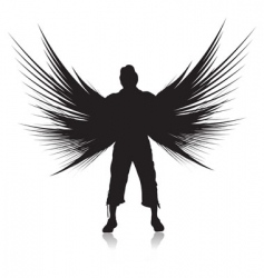 Winged man vector