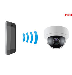 Wireless controlling cctv security camera vector