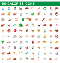 100 calories icons set cartoon style vector image vector image