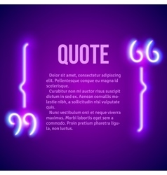Retro neon glowing quote marks frame vector