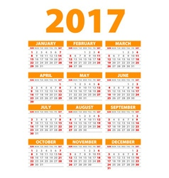 2017 calendar or desk planner 12 month set week vector image