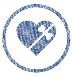 Tied love heart rounded fabric textured icon vector