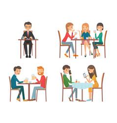 people in restaurant vector image