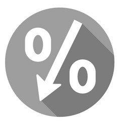 Percent decrease icon of set material design vector