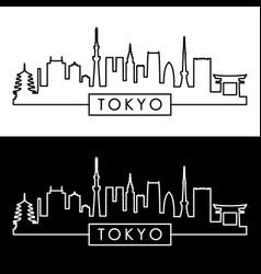 Tokyo skyline linear style editable file vector