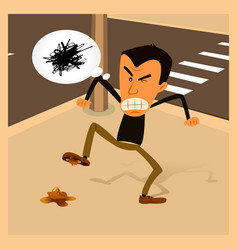 Angry man - urban life vector