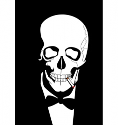 Smoking skull vector