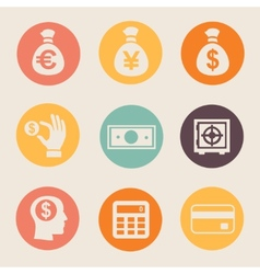 Money and coin icon set vector