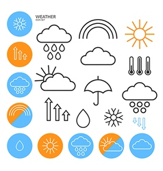 Weather icon set outline vector