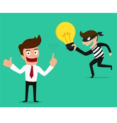 Piracy thief stealing idea from businessman vector