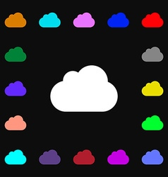 Cloud icon sign lots of colorful symbols for your vector