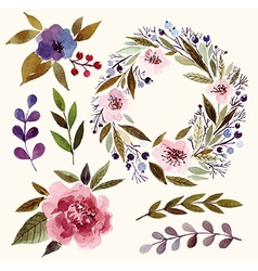 Watercolor floral elements vector