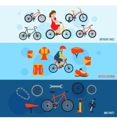 Bicycle accessories flat banners set vector