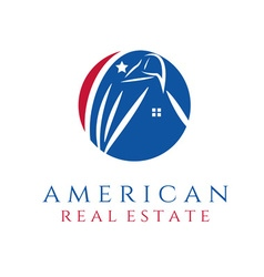 American real estate concept wit eagle and house vector