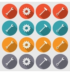Cogwheel hammer wrench key icons set repair fix vector