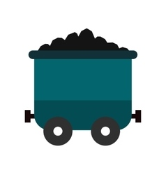 Coal trolley flat icon vector