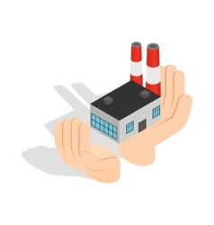 Hands holding a chemical plant icon vector