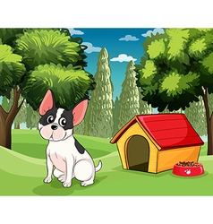 A dog near a doghouse with a dog food vector image vector image