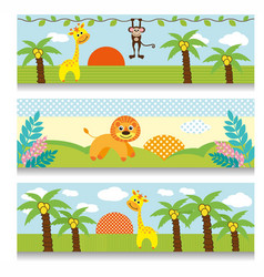 Africa baby clipart giraffe monkey trees clouds vector