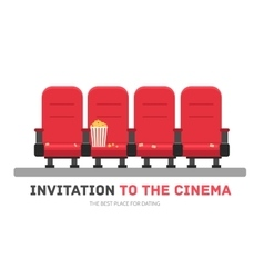 An invitation to the movie in flat design vector