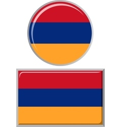 Armenian round and square icon flag vector