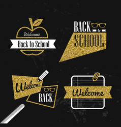 Back to school gold glitter typography quote set vector