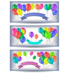 Banners with colorful balloons and ribbons vector image
