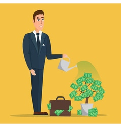 Businessman watering a money tree creative color vector