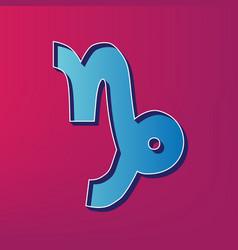 Capricorn sign blue 3d vector