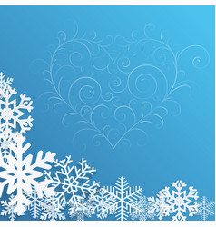 Christmas background with snowflakes and heart vector image