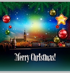 Christmas greeting with panorama of heidelberg vector