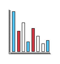 Color sectors silhouette of column chart vector