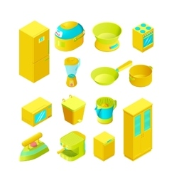 Colorful isometric home appliances vector image vector image