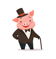 cute happy pig dressed up in black tuxedo and hat vector image vector image