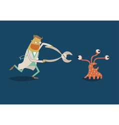 Dentist chase bacteria vector