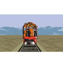 Diesel train front rear woodcut retro vector