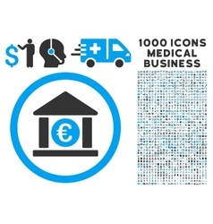 Euro Bank Icon with 1000 Medical Business vector image vector image