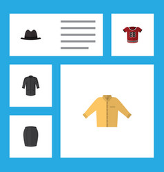 Flat icon clothes set of banyan t-shirt panama vector
