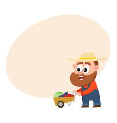 Funny farmer gardener character pushing barrow vector