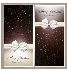 Gift cards with white bow vector image vector image