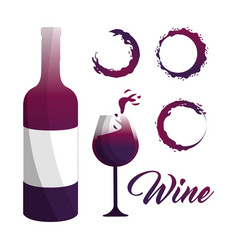 Glass and bottle of wine with bubbles icon vector