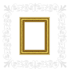 Golden frame with gray ornament vector