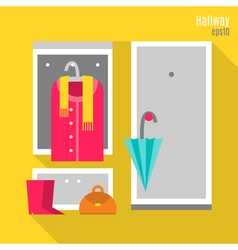 Hallway in flat style vector
