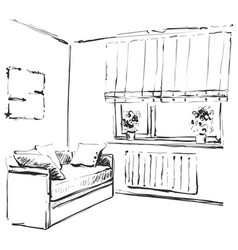 Hand drawn sketch of modern living room interior vector